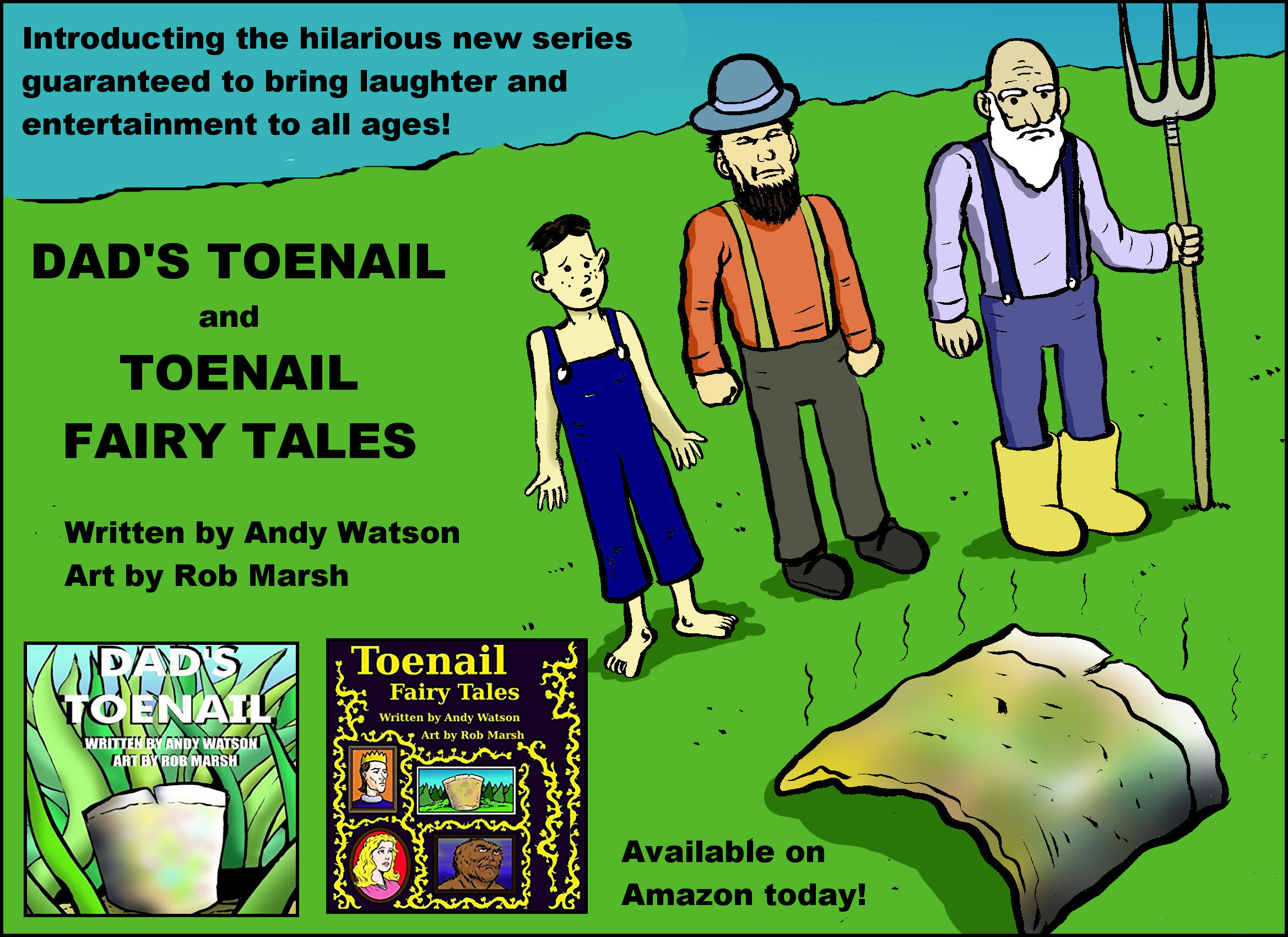Dad's toenail is a silly children's book that I illustrated. It was written by my friend Andy Watson. It tells a goofy story of a Dad who loses a toenail, and how the family devises strange and creative ways to put that detached toenail to good use