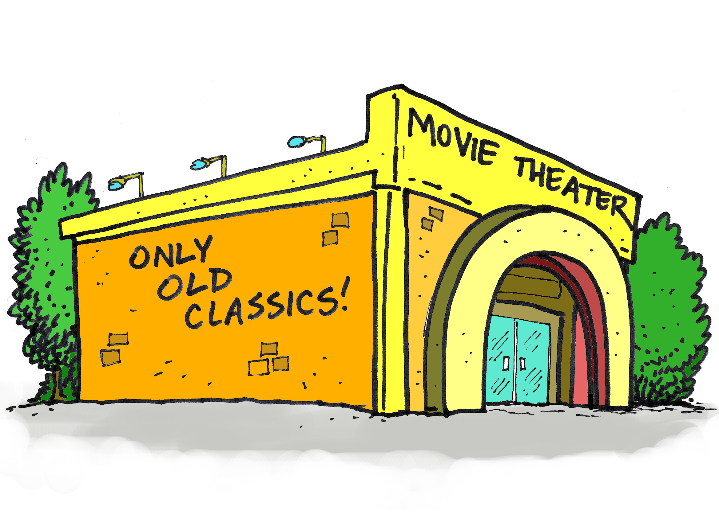 The theater where Ludosomnus and his friends watch and review old movies